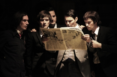 George Maguire, Ned Derrington, Dominic Tighe, Tam Williams and Adam Sopp in Sunny Afternoon. Photograph by Kevin Cummins.