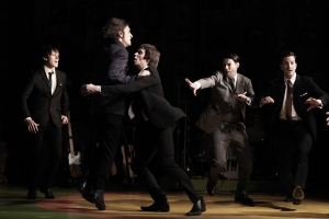 Ned Derrington, George Maguire, Adam Sopp, Tam Williams and Dominic Tighe in Sunny Afternoon.  Photograph by Kevin Cummins.