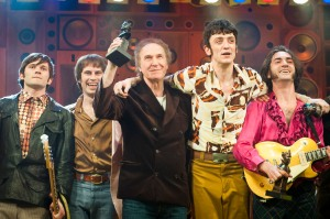 Ray Davies joins the cast of Sunny Afternoon on stage to celebrate the show winning 4 Olivier awards, at the Harold Pinter Theatre - London. Photograph by David Jenson.