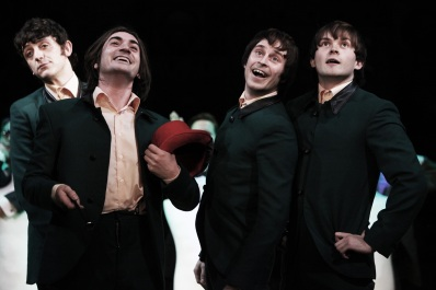 John Dagleish, George Maguire, Adam Sopp and Ned Derrington in Sunny Afternoon. Photograph by Kevin Cummins.