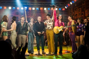 Ray Davies joins the cast of Sunny Afternoon on stage to celebrate the show winning 4 Olivier awards, at the Harold Pinter Theatre - London Photo credit: David Jenson
