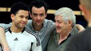 Calvin Demba, Daniel Mays & Peter Wight in rehearsal Photograph by Catherine Ashmore