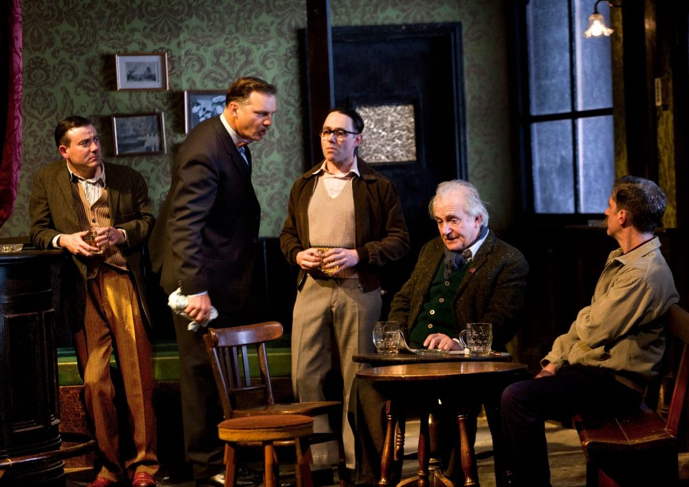 Graeme Hawley, David Morrissey, Reece Shearsmith, Simon Rouse and Ryan Pope in Hangmen Photo credit: Simon Annand