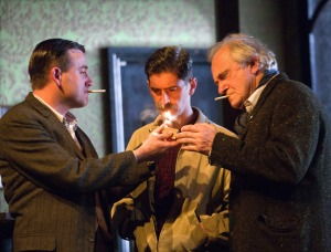 Graeme Hawley, Ryan Pope and Simon Rouse in Hangmen Photo credit: Simon Annand
