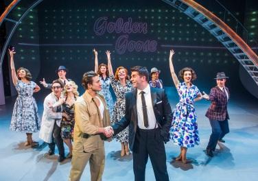 Dean John-Wilson (Joey Lubowitz) & Simon Lipkin (Lou Lubowitz) in Miss Atomic Bomb, St James Theatre, photo Tristram Kenton