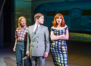 Florence Andrews (Candy Johnson), Daniel Boys (Mr Potts) & Catherine Tate (Myrna Ranapapadophilou) in Miss Atomic Bomb, St James Theatre, photo Tristram Kenton