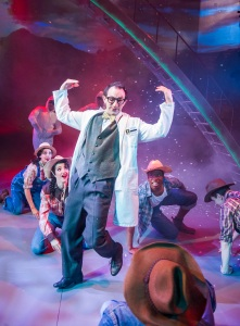 Stephane Anelli (Professor Alvin Schmul) & various cast in Miss Atomic Bomb, St James Theatre, photo Tristram Kenton