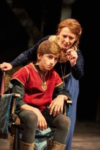 Sebastian Croft and Lisa Dillon. King John at The Rose Theatre.  Photo by Mark Douet _80A7171