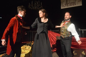 The Alchemist at The Rose Playhouse June 2016 (L-R) Benjamin Garrison as Subtle _ Beth Eyre as Doll Common _ Peter Wicks as Face ( copyright Mercurius)