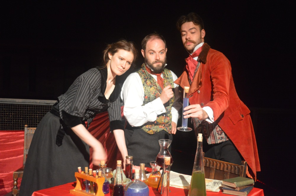 The Alchemist at The Rose Playhouse June 2016 L-R Beth Eyre as Doll Common _ Peter Wicks as Face _  Benjamin Garrison as Subtle ( copyright Mercurius)