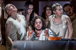 EMBARGOED until 26 04 16 (l - r) Forbes Masson, Kit Harington and Jenna Russell in Doctor Faustus at the Duke of York's Theatre London CREDIT Marc Brenner.jpg