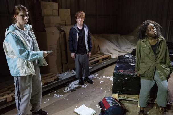 Cargo at the Arcola Theatre, Milly Thomas, Jack Gouldbourne and Debbie Korley,  Photo by Mark Douet