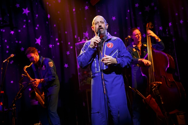 World Premiere at Joe's Pub at The PublicTHE OUTER SPACE Book and Lyrics by Ethan Lipton  Music composed and performed by Ethan Lipton, Vito Dieterle, Eben Levy & Ian Riggs Directed by Leigh Silverman Scenic and Costume Design: David Zinn Lighting De
