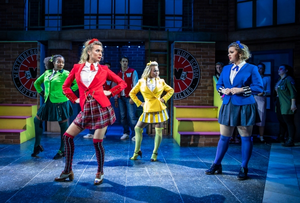 [L-R] T'Shan Williams (Heather Duke), Jodie Steele (Heather Chandler), Sophie Isaacs (Heather McNamara) and Carrie Hope Fletcher (Veronica Sawyer) - Heathers The Musical - Pamela Raith P
