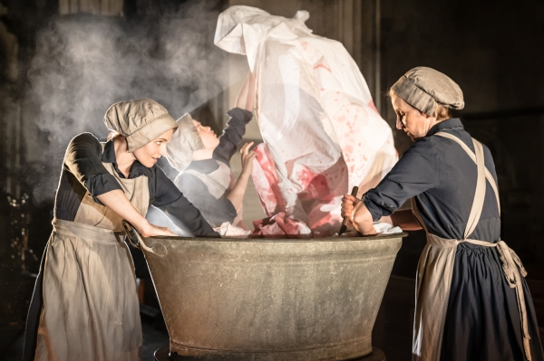 Antic Disposition's Macbeth, Bryony Tebbutt, Robyn Holdaway and Louise Templeton (Credit Scott Rylander)