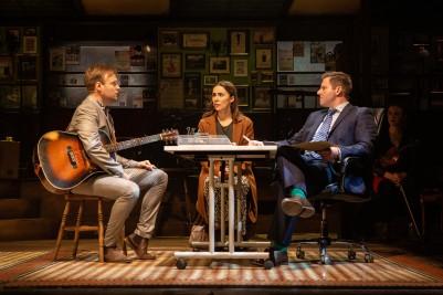 Daniel Healy as Guy, Emma Lucia as Girl, Samuel Martin as Bank Manager - Once UK Tour - Photo Mark Senior