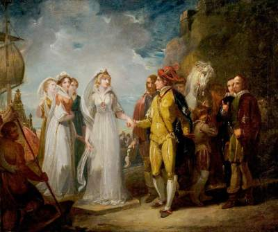 Stothard, Thomas, 1755-1834; 'Love's Labour's Lost', Act II, Scene 1, the Arrival of the Princess of France
