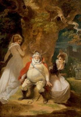 Smirke, Robert, 1753-1845; 'The Merry Wives of Windsor', Act V, Scene 5, Falstaff Disguised as Herne with Mrs Ford and Mrs Page