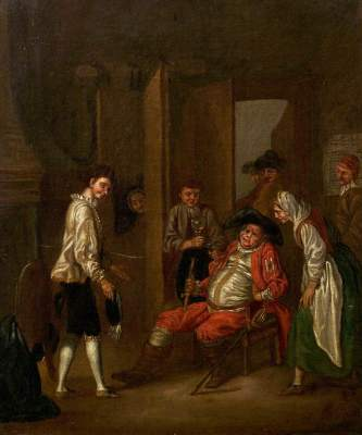 Collet, John, c.1725-1780; Scene in the 'Boar's Head' Tavern from William Shakespeare's 'Henry IV', Part I