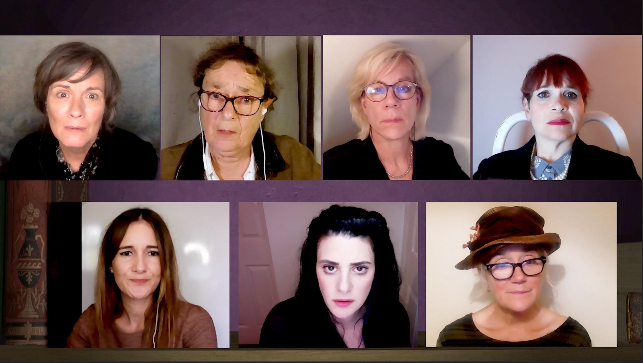 (L-R) Catherine Russell, Sarah Solemani, Linda Basset, Natasha Karp, Juliet Stevenson, Sophie Thompson, and Debbie Chazen, Little Wars (Credit John Brannoch)